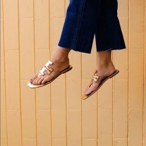 tory burch gold transparent square toe sandals
